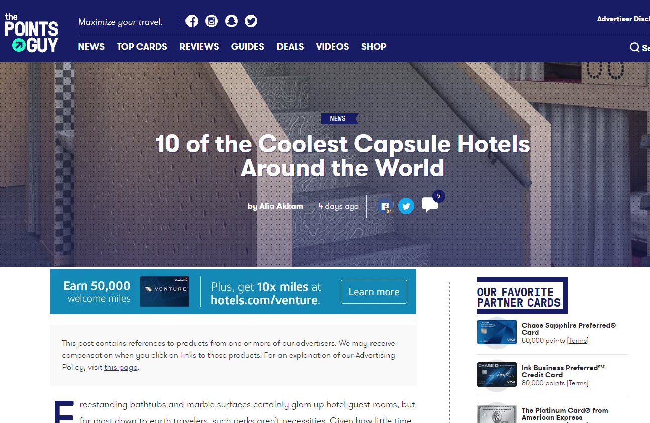 The Points Guy | 10 of the Coolest Capsule Hotels Around the World